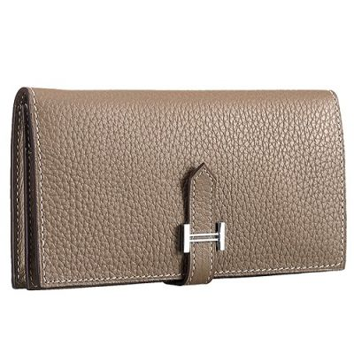 Hermes Bearn H039078CK18 Ladies Etoupe Calf  Leather Long Wallet Narrow Central Flip-over Flap For Sale