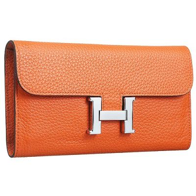 AAA Quality Hermes Constance Ladies Orange Grained Leather H Flap Wallet Zipped Purse With Padlock