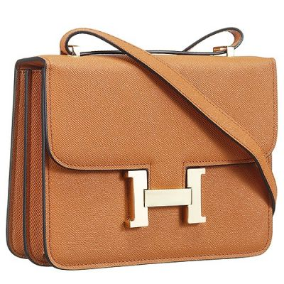 AAA Quality Hermes Golden H Snap Button Female Constance Flap Shoulder Bag Tan Leather Replica