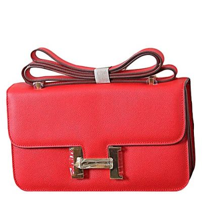 Good Price Hermes Constance Red Leather Long Elan Bag Golden H Buckle Double Compartments