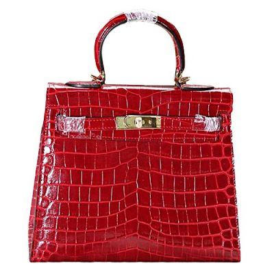 Red 28CM Hermes Kelly A-shaped Flap Totes Bag Golden Hardware Price List Red Crocodile Leather