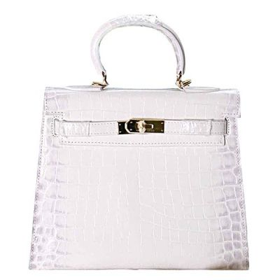 Hermes Kelly Hot Selling White Crocodile Leather Wide Base Small Flip-over Flap Totes Bag Silver 2