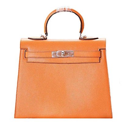 Replica Chic Women's Orange Hermes Kelly Small Leather Flap Tote Bag Silver Hardware Signal Handle
