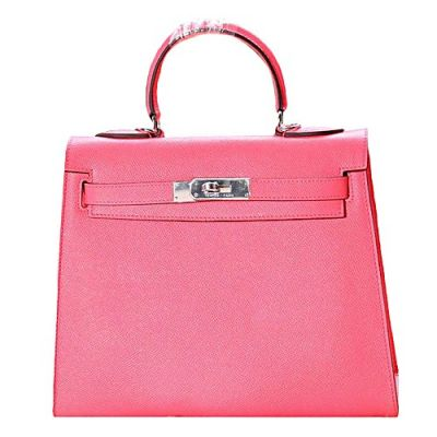 Sweet Style Pink Soft Leather Hermes Kelly Silver Buckle A-shaped Wide Base Flap Totes