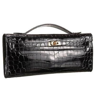 Hermes Kelly High End Black Crocodile Leather Golden Buckle Womens Longue Clutch Red Carpet