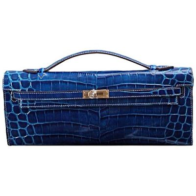 2017 Fashion Hermes Blue Crocodile Leather Womens Flat Handle Long Clutch Gold Plated Buckle For Sale