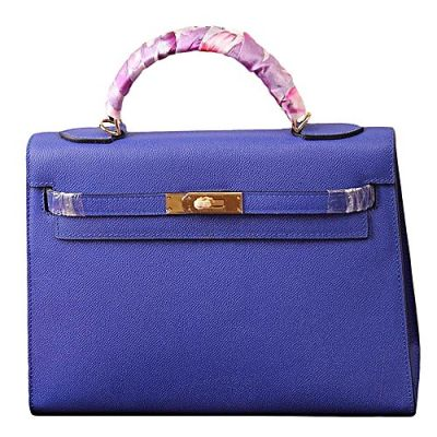 Hermes Kelly Sapphire Blue Ladies Silk Twining Handle Yellow Brass Buckle Wide Base Totes For Sale