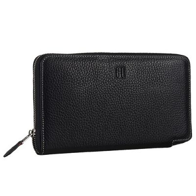 Hermes Azap Womens Black Grained Leather High End Long Zip-around Wallet H Logo For Sale