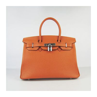 Hermes Birkin Ladies Vantage 30CM Orange Togo Leather Belt Lace Flap Handbag Silver Hardware