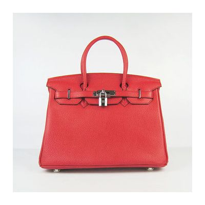 Red Leather Hermes Birkin Silver Lock Female Belt Flap Tote Bag Base With Bolts 30CM