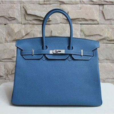 High Quality Togo Leather Ladies Silver Buckle Hermes Birkin Top Handle Flap Tote Bag Steelblue