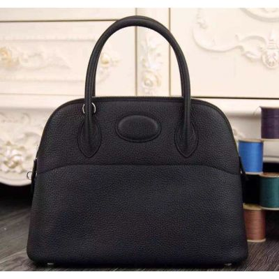 Fake Hermes Bolide H073419CK89 Black Cowhide Leather Rounded Top Handle Zipper Closure For Sale Uk