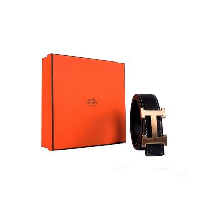 Imitation Hermes Classic Black Calfskin Leather Mens Belt With Yellow Gold H Pin Buckle