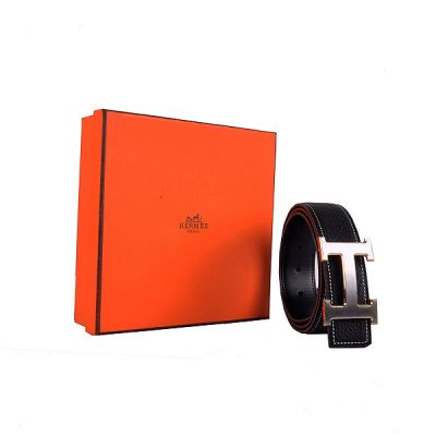 Top Sale Hermes Black Calf Leather Strap Silver Logo Buckle With Gold Edge Fashion Mens Fake Belt