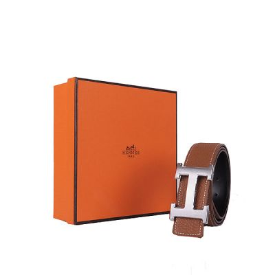 Hermes In Light Coffee Calf Leather Guy Belt With Silver Logo Pin Buckle 2017 Price