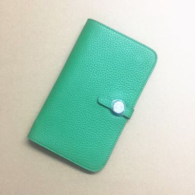 Cheapest Hermes Calf Leather Green Dogon Clone Wallet Silver Round Buckle For Girls Summer