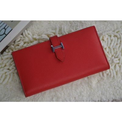 Hot Selling Hermes Bearn Silver H Buckle Calf Leather Gusset Long Wallet Red Online Replica