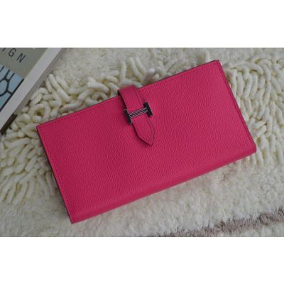 Fashion Rose Calf Leather Hermes Bearn H Loop Wallet  17*9 CM For Girls Replica