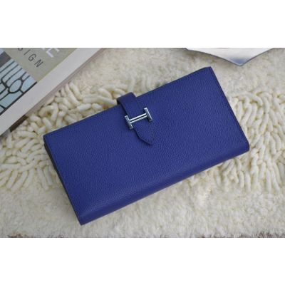 Hermes Bearn Royal Blue Calf  Leather Central Belt Wallet Silver Zipped Change Purse For Womens