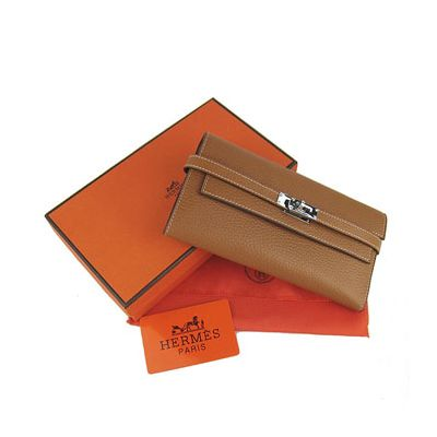 Vintage Long Hermes Kelly Ladies Light Coffee Flap Wallet Two Bill Compartments Replica Sale Canada