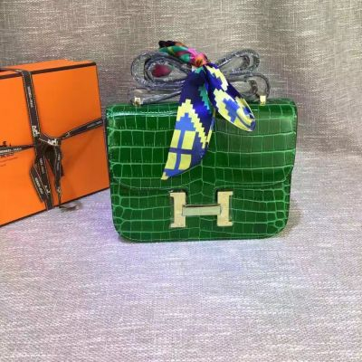 23CM Green Crocodile Leather Hermes Constance Curved Buttom Womens Brass H Buckle Flap Shoulder Bag
