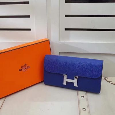 Top Sale Women's Electric Blue Hermes Togo Leather Constance Fake H Wallet 1 Zipped Purse