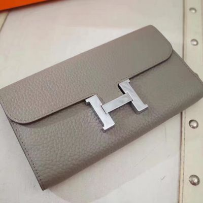 Fashion Etoupe Hermes Silver Logo Snap Button Long Togo Leather Constance Wallet Curved Flip-over Flap