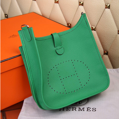 Hermes Logo Perforated Plaque Ladies Evelyne III Togo Leather Crossbody Bag Green Online Store