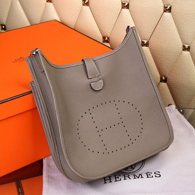 Hermes Evelyne III Large Grey Togo Leather Clone Shoulder Bag Slim-over Flap With Snap Button