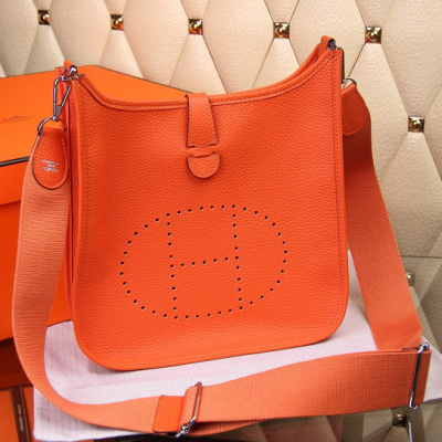 Fashion Orange Togo Leather Hermes Evelyne III Ladies Slim Flap Saddle Bag H056276CK9J Adjustable Cloth Strap
