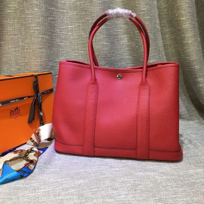 Sweet Peach Leather Hermes Womens Garden Party H066608CKAF Autumn 36CM Totes Top Handle For Sale