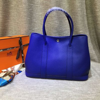 Sapphire Blue Chic Hermes Garden Party Silver Snap Button Soft Leather 36CM Medium Tote Bag