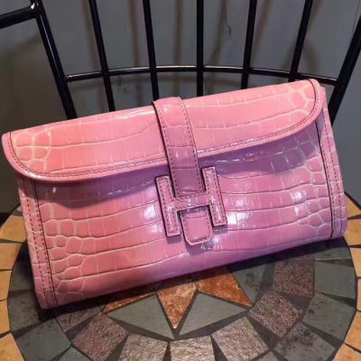Good Reviews Hermes Jige Coco Pink Flap Clutch  28CM H Leather Loop For Girls
