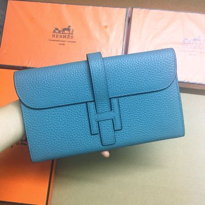 Classic Stellblue Grained Togo Leather Hermes Jige Long Wallet H Logo Loop 22CM For Womens