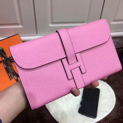 High Quality Hermes Leather Logo Loop Pink Togo Leather Jige Wallet Flap Evening Bag Replica