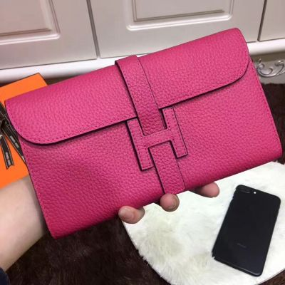 Long Party Style Women's Hermes Rose Togo Leather Jige Wallet Small Flip-over Flap Silver Hardware