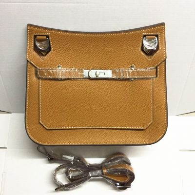 Women's 28CM Brown Hermes Jypsiere Flap Crossbody Bag Leather Belt With Silver Buckle Topstitching Edge