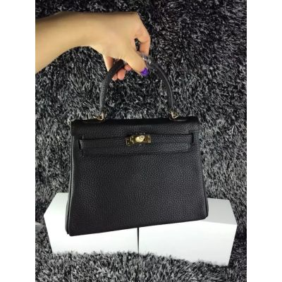 Fake Black Togo Leather Yellow Brass Buckle Hermes Kelly Womens Totes Bag Flip-over Flap