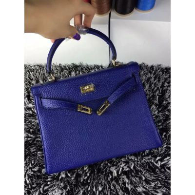 Hermes Kelly 25CM Ladies Fashion Top Handle Flap Tote Bag Gold Plated Buckle Sapphire Blue