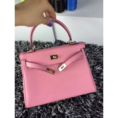 Hermes Kelly 25CM Pink Togo Leather Ladies Flap Tote Bag Gold Plated Hardware For Girls