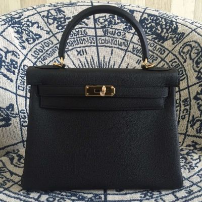 Best 28CM Chic Hermes Kelly JF30828928108000 Togo Leather Black Ladies Golden Plated Buckle Totes