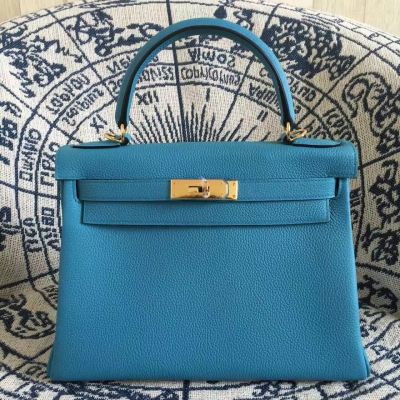 Hermes Kelly Latest Collection Togo Leather Golden Lock Female Flap Tote Bag 28CM Replica
