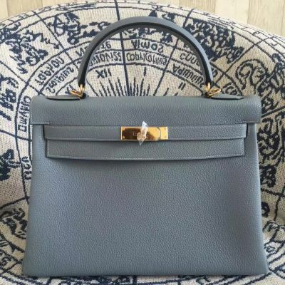 AAA Quality Winter Hermes Kelly Grey Top Handle Flap Totes Bag Togo Leather 28CM Golden