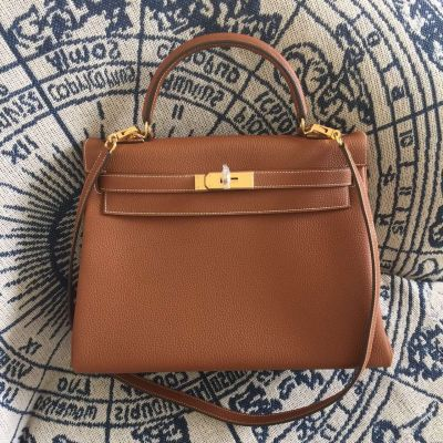 Hermes Kelly 28CM Removable Shoulder Strap Yellow Brass Buckle Brown Hot Selling Togo Leather Totes