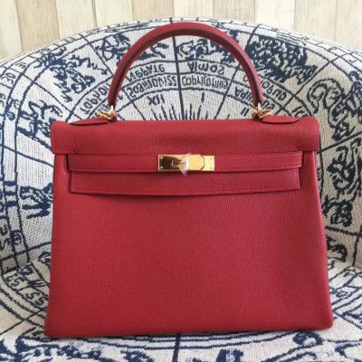 Hermes Kelly Red Togo Leather Ladies A-shaped Top Handle Flap Tote Bag Golden Buckle Usa