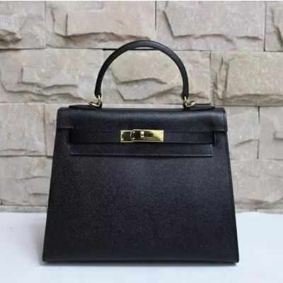 Hot Selling Black Epsom Leather Faux Flap Handbag Leather Strap With Golden Buckle For Womens