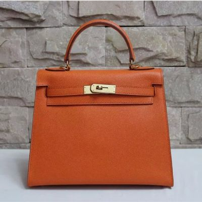 2017 New Hermes Kelly Flap Totes Bag Top Handle Leather Strap Gold Plated Lock Brown
