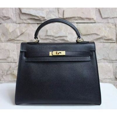 Hermes Kelly Classic Black Epsom Leather Top Handle Gold Lock 32 CM Tote Bag Leather Trimming