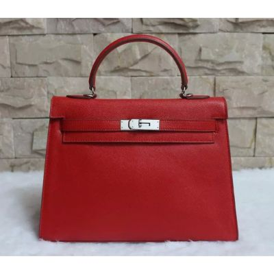 Red Epsom Leather Big Hermes Kelly Flap Totes Silver Hardware For Sale Online Replica