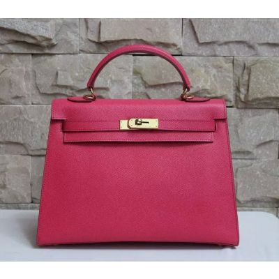 Best Rose Classic Hermes Kelly Leather Strap Golden Lock Faux Flap Totes Bag For Girls